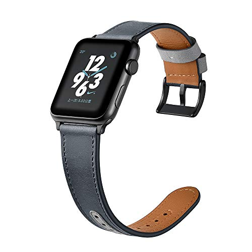 (Compatible with 44mm 42mm Apple Wacth Leather Band, Suede Leather Genuine Leather Strap Loop for Apple iWatch Series 1 2 3 4 Edition Nike+ Smooth Soft Cuff Bracelet Wrist Band (Blue Gray, 42mm, 44mm))