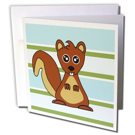 3dRose Cute Brown Squirrel Print Blue Green Stripe - Greeting Cards, 6 x 6 inches, set of 6 (gc_28539_1) Green Stripe Note