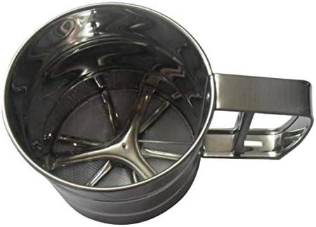 Tivollyff 半自動ハンドヘルド小麦粉ふるいベーキングツールステンレススチールケーキ用具ココアパウダーハンドスクリーンシュガーメッシュふるい