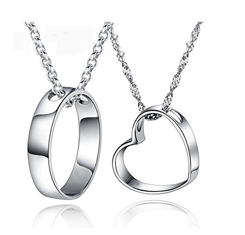 14K White Gold Overlay Silver Sun and Moon Diamond Accent Heart Couple Necklace His and Hers Lover Necklace (Circle&Heart)