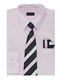 Boys Solid Color Cotton Blend Woven Long Sleeve Dress Shirt with Tie & Handkerchief