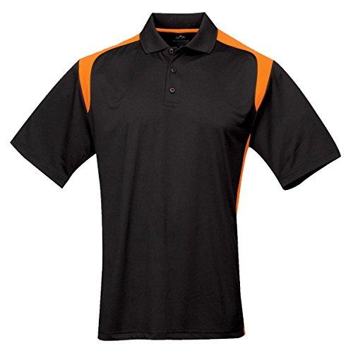 Tri-mountain Mens 100% Polyester UC Knit Polo Shirt. 145TM - BLACK / ORANGE_XL