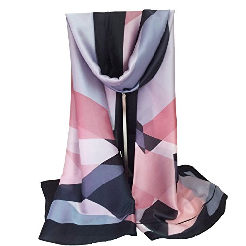 K-ELewon Silk Scarf Fashion Scarves Long Lightweight Sunscreen Shawls for Women SK065(Gray) (Silk Scarf Thick)