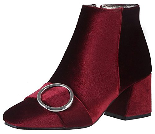 Church Street's Halloween Night Block Party (Mofri Women's Elegant Buckle Strap Block Medium Heel Ankle Booties Square Toe Velvet Side Zipper Short Boots (Burgundy, 4.5 B(M))
