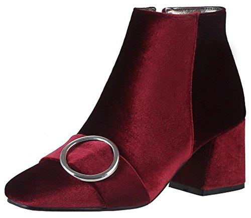 Mofri Women's Elegant Buckle Strap Block Medium Heel Ankle Booties Square Toe Velvet Side Zipper Short Boots (Burgundy, 4.5 B(M) -