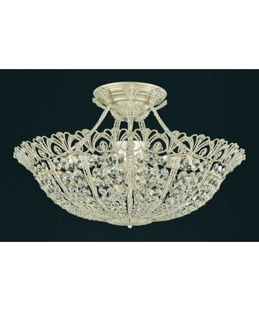 Schonbek 9845-22 Tiara 18 Light Semi Flush Mount in Heirloom Gold with Clear Swarovski Spectra crystal