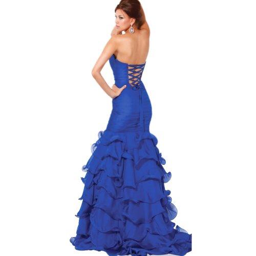 Abendkleid mit Taft Applikationen Trompete Meerjungfrau GEORGE Ausschnitt Blumen Blau Bodenlang V BRIDE FYqx0a