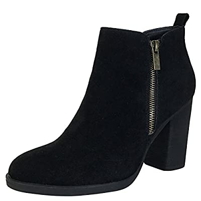 BAMBOO Women's Chunky Heel Bootie with Side Zippers