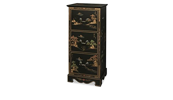 Amazon.com: Chinoiserie Scenery Design 3 Drawer File Cabinet   Matte Black:  Kitchen U0026 Dining