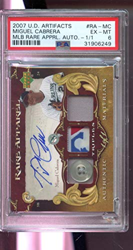 Games Miguel Cabrera (2007 Upper Deck Artifacts MLB Rare Apparel Miguel Cabrera Game-Used Jersey 1/1 Autograph AUTO Graded Baseball Card PSA 6)