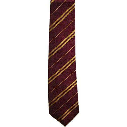 School Uniform Neckties - Wizard Pinstripe Costume Tie (Long,Gryffindor Maroon) (Harry Potter School Uniform)