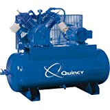 - Quincy QT-15 Splash Lubricated Reciprocating Air Compressor - 15 HP, 230 Volt, 3 Phase, 120 Gallon Horizontal, Model# 2153DS12HCA23