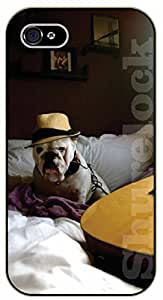 iPhone 5 / 5s Hipster dog with hat and guitar. Music - black plastic case / dog, animals, dogs