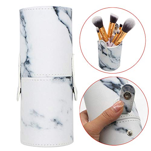 Zlolia Marble Print Multifunctional Bucket Toiletry Bag Make up Organizer Barrel Cases Kit Storage pocket Pencil Brushes for Beauty Pen Case