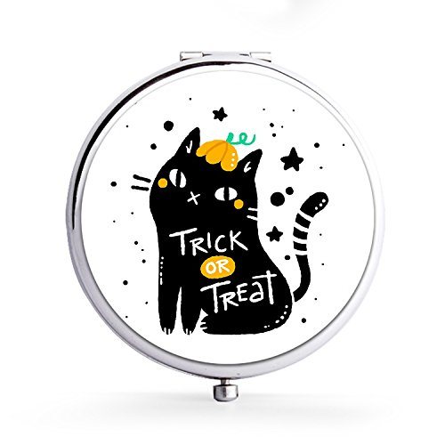 Makeup Mini Mirror Handhold Double Side Compact Travel Mirrors - Flamingo Backyard VacationBlack Cat With Halloween Style -