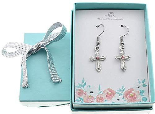Cross Earrings in Silver Toned Metal. Cross Jewerly. Religious Jewelry. Religious Earrings. First Communion Earrings. Gift for Her