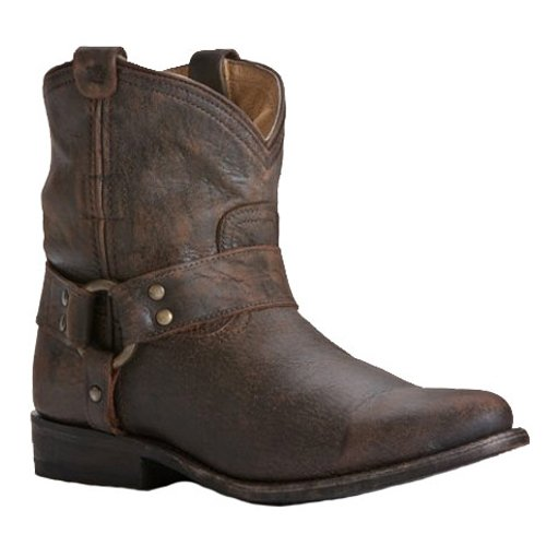 FRYE Women's Wyatt Harness Short Boot, Dark Brown Cracked Leather, 7 M (Frye Wyatt Boot)