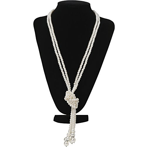 """BABEYOND 1920s Imitation Pearls Necklace Gatsby Long Knot Pearl Necklace 49"""" 20s Pearls 1920s Flapper Accessories (Knot Pearl Necklace x (Necklace Fashion Accessory)"""