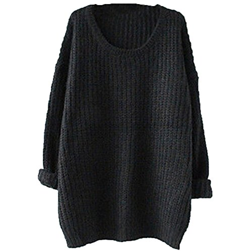 Womens-Plus-Size-Long-Cable-Knit-Pullover-Sweater-Chunky-Tops
