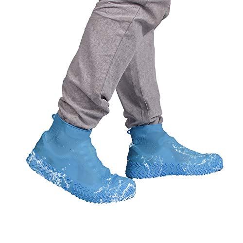Daywin Waterproof Shoe Covers Versatile Overshoes for Rain, Mud, Beach, Snow, Gardening, Heavy Cleaning Jobs and Outdoor Activities Size M Color Blue