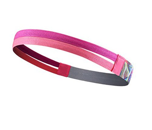 Keross 3 Pieces Sports Non Slip Headband Elastic Sweatband Double-straps Silicone Lined Hairband