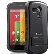GreatShield® Motorola Moto G (1st Gen 2013) / Moto DVX [GUARDIAN] Dual Layer Hybrid Soft Case Hard Cover with Kickstand (Black)