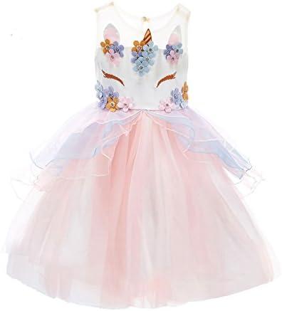 [Sponsored] TeenMiro Flower Girl Unicorn Tulle Dress with 3D Beading Flower Birthday Party
