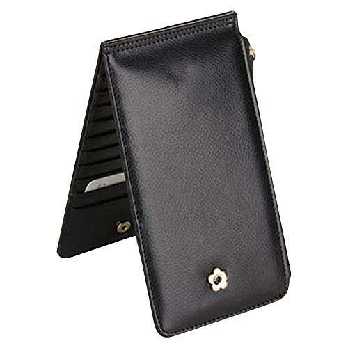 PU LEATHER LONG CREDIT ID CARD HOLDER CASE POCKET WALLET ZIP PURSE CLUTCH BAG (Colour: - Black)
