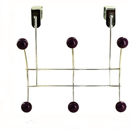 6 Hook Over Door Hanger featuring a durable metal design that fits over the tops of doors with 6 hooks with purple plastic ball ends by OrganizeCity