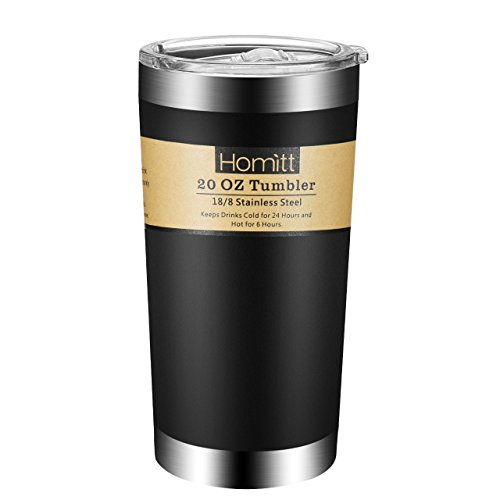 Homitt 20 oz Coffee Tumbler Stainless Steel Tumbler Double Wall Insulated Vacuum Tumbler, Sweat Free, Powder Coated Design with Splash Proof Sliding Lid for Cold & Hot Beverages Coffee Beer Tumbler