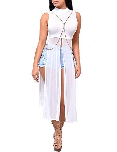 Women Sexy 2 Pieces Set Crewneck Half Sleeve Crop Top Stripe Long Skirt Dress White XXL (T-shirt Heels Sheer)