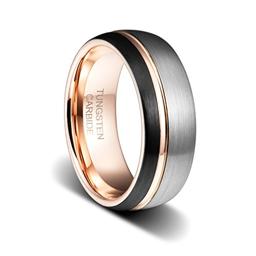 TUSEN JEWELRY 8mm Eternity Ring Black Sliver Brushed Tungsten Ring Thin Side Rose Gold Plated Groove