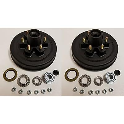 2-Pk 12 in. x 2 Trailer Brake Hub Drum Kit w/Bearings Seal Cap Lugs (6 on 5.5): Industrial & Scientific