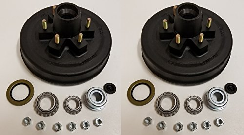2-Pk 12 in. x 2 Trailer Brake Hub Drum Kit w/Bearings Seal Cap Lugs (6 on 5.5)