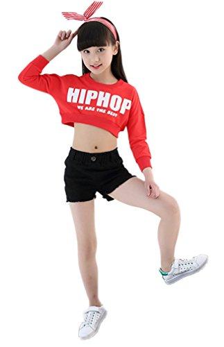Soojun Girls Hip Hop Dancewear Athletic Top and Short Set, Black, 105cm by Soojun