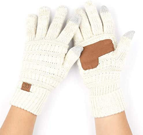 C.C Women Solid Ribbed Glove with Smart Tips (G-20)(G-33)