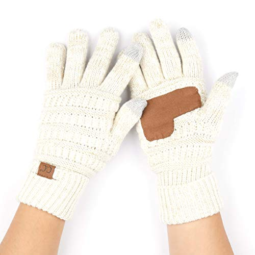 sex Cable Knit Winter Warm Anti-Slip Ribbed Touchscreen Smart Cellphone Finger Tips (Ivory/Gold) ()