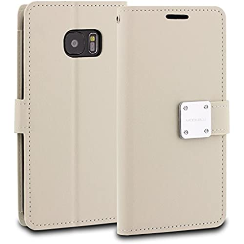 Galaxy S7 Edge Case, ModeBlu [Mode Diary Series] [White] Wallet Case ID Credit Card Cash Slots Premium Synthetic Sales