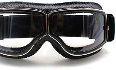 Semoic Retro Motorrad Brille Brille Flieger Kreuzer Motorrad Brille Vintage Leder Für Harley Brillen Reinigen Auto