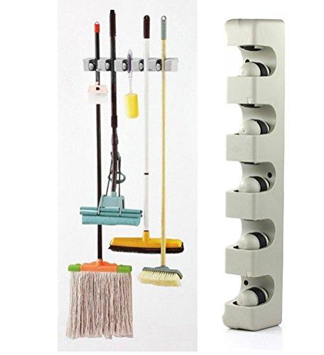New 2017 Kitchen Organizer Wall Shelf Mounted Hanger 5 Position Kitchen Storage Mop Brush Broom Organizer Holder Tool