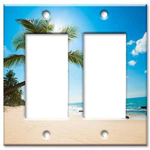 Art Plates 2 Gang Decora - GFCI Wall Plate - Palm Tree and Beach