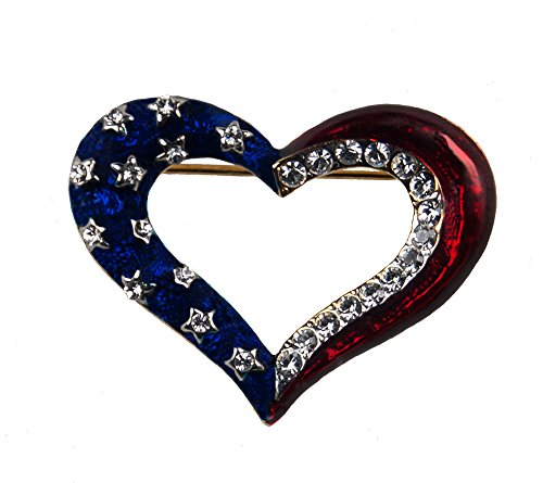 - Stars & Stripes Products Patriotic Outline Heart Brooch/Pin