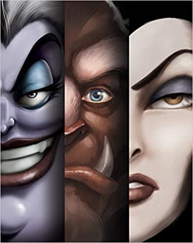 Close ups of Ursula, The Beast and Maleficent's faces