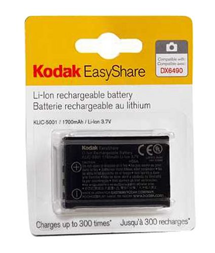 Dx7440 Charger - Kodak KLIC-5001 Lithium-Ion Rechargeable Digital Camera Battery for Z730, Z760, Z7590, DX6490, DX7630, DX7440, P850, P880 and P712 Digital Cameras