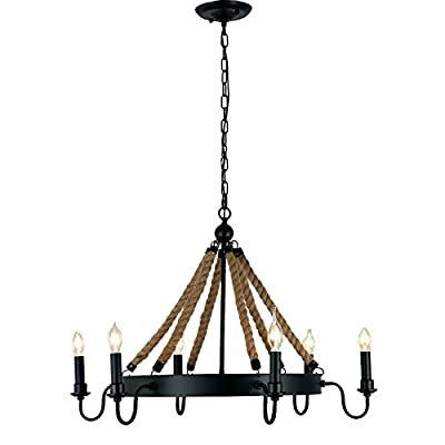 Unitary Brand Antique Metal Flaxen and Black Hemp Rope Wheel Candle Chandelier with 6 E12 Bulb Sockets 240W Painted Finish