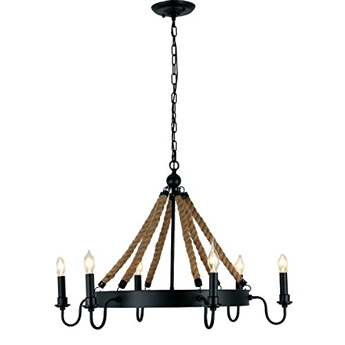Unitary-Brand-Antique-Metal-Flaxen-and-Black-Hemp-Rope-Wheel-Candle-Chandelier-with-6-E12-Bulb-Sockets-240W-Painted-Finish
