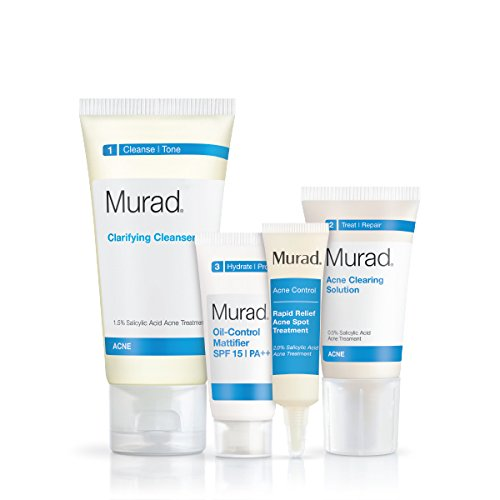 Price comparison product image Murad 30 Day Acne Control Kit - (Cleanser, Clearing Solution, Oil Control Mattifier, Spot Treatment), Starter Kit Proven to Rapidly Clear Breakouts and Restore Smooth Skin Without Over-Drying