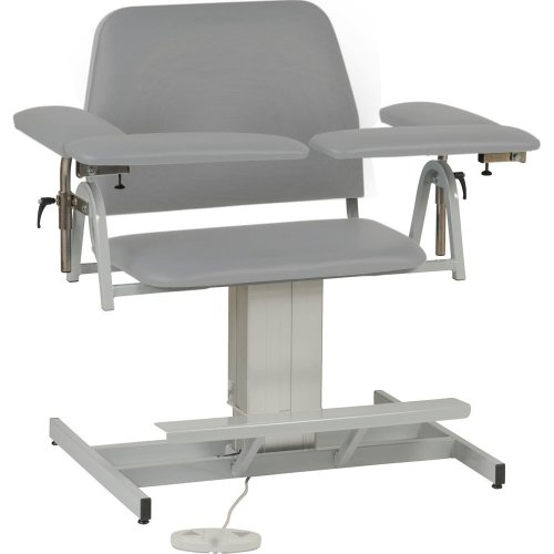 TK Manufacturing Power Seat Height Adjustable Bariatric Extra-Wide Blood Drawing (Phlebotomy) Chair, Seat Adjusts From 21' To 29', Fully Upholstered Chair Dove Grey