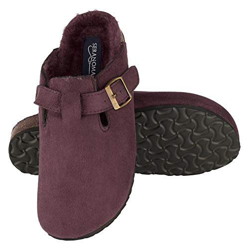 Seranoma Women's Micro Suede Plush Lined Cork Clog Slippers Antislip Sole Burgundy