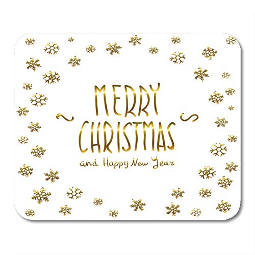 Semtomn Mouse Pad Golden Glowing Merry Christmas and Happy New Year Lettering Mousepad 9.8